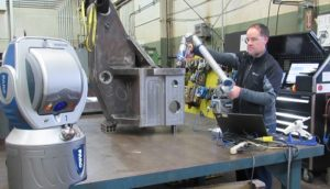 Quality Inspector Measuring Steel Fabrication